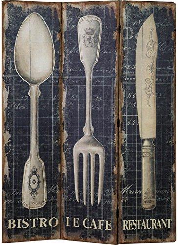 Biscottini Separé 'Posate' con Stampa monofacciale su Tela in Juta Grezza L140xPR9xH183 cm