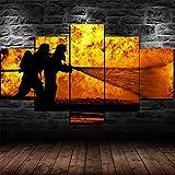 Impression sur Toile 5 Parties Tableau Tableaux Pompier héros Pompier Decoration Murale Photo Image Artistique Photographie Graphique Abstrait HD Imprimé Maison Décor À La Cadre