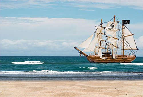 CSFOTO 5x3ft Background for Pirate Ship Sailing On Sea Photography Backdrop Sailboat with Skull Flag Sailor Captain Sea Ocean Seaside Beach Holiday Vacation Photo Studio Props Vinyl Wallpaper