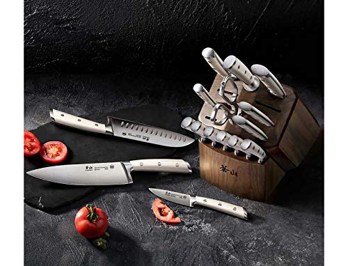 Cangshan Posate | Set di coltelli forgiati serie S1 in acciaio tedesco X50Cr15MoV Serie S1 17-Piece Block Set Infradito colorati estivi, con finte perline