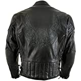 Xelement B96333 Men's 'Flying Mayhem Skull' Black Leather Moto Jacket with X-Armor Protection - 2X-Large
