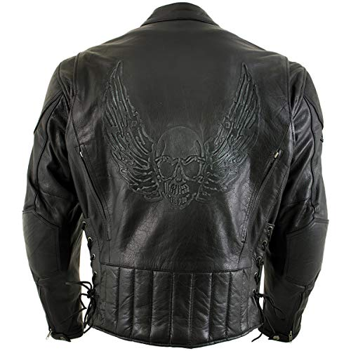 Xelement B96333 Men's 'Flying Mayhem Skull' Black Leather Moto Jacket with X-Armor Protection - Large