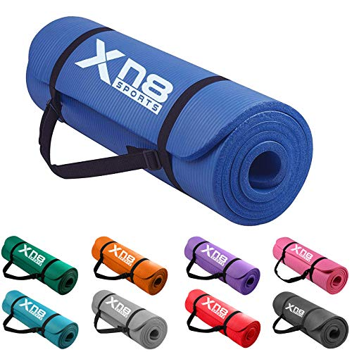 XN8 Padded Exercise Yoga Mat-NBR 15mm Thick with Carry Handle Strap for...