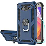 StarLodes Compatible for Samsung Galaxy J7 2015 Case,J7 Neo,J7 Core,J7 Nxt Phone Case,[HD Screen Protector] Heavy Duty Shockproof Protective Cover with Ring Kickstand for Magnetic Car Mount-Blue