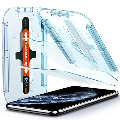 Spigen Glas.tR EZ Fit Panzerglas kompatibel mit iPhone 11 Pro, iPhone XS, iPhone X, 2 Stück, Kratzfest, 9H Härte Schutzfolie