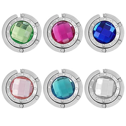 6 Metall Handtaschenhalter Taschen Haken im Kristall-Stil Hält 5 Kilo - Rote, Blaue, Grüne, Blaue, Weiße und Rosa Farben - Haken für Handtasche, Schmuck, Halsketten und Mehr