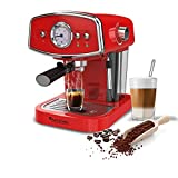 19 Bar Retro, Siebträgermaschine für Kaffee & Espresso, Milchaufschäumer, Espressomaschine,...