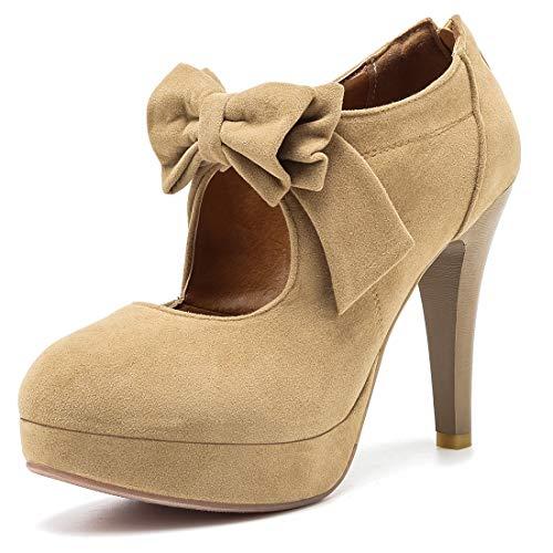 Mostrin Fashion Vintage Womens Small Bowtie Platform Pumps Ladies Sexy High Heeled Shoes Apricot, 5.5 B(M) US