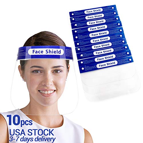 【US STOCK】10 Pcs Safety Face Shields for grinding anti-spitting Reusable Full Face Transparent respiratory protection anti-saliva visor anti-fog Shield Protect Eyes And Face