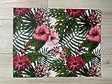 1KDreams Impermeabile Antimacchia Set 2 tovagliette americana. Motivo Foglie e Fiori Tropicali. (2 50x40 cm)