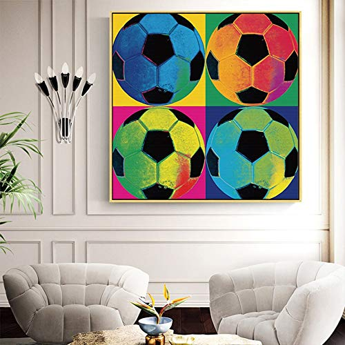 UIOLK HD Canvas Painting Modern Mural Posters and Prints Football Fan Canvas Painting Football Mural Hotel Aisle Home Decoration Living Room Entrance Home Decoration
