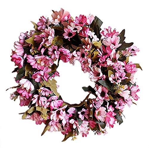 Supreme glory Deko Kranz Wandkranz Türkranz Handgefertigt Kranz Blumenkranz Künstliche Dekorative Landschaftsbau für Frühling Sommer Ostern 35CM