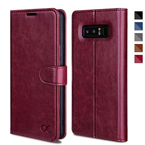 OCASE Samsung Galaxy Note 8 Hülle, Handyhülle Samsung Galaxy Note 8 [Premium Leder] [Standfunktion] [Kartenfach] [Magnetverschluss] Leder Brieftasche für Galaxy Note 8 Burg&y