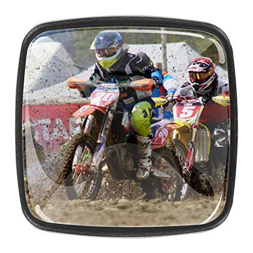Yumansis Tiradores y manijas Rally de Motos Pomos para Muebles Pomos de plástico de 4 Piezas para Escritorio de Puerta 3x2.1x2 cm