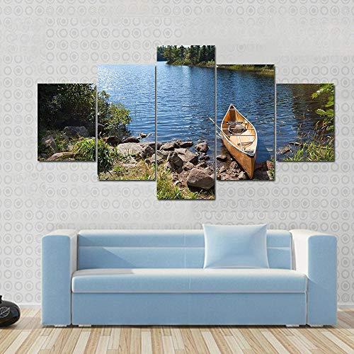 Cuadro sobre Impresión Lienzo 5 Piezas -Mural Moderno 5 Piezas,Canoa Amarilla en el Lago Dormitorios Decoración para El Hogar -No Tejido Lienzo Impresión- Modular Poster Mural-Listo para Colgar