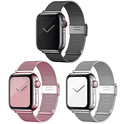 Magnetic iWatch Bands Compatible with Apple Watch 38mm 40mm 42mm 44mm, Adjustable Stainless Steel Mesh Metal Loop Sport Wristband for women and men Compatible with iWatch Series 6/5/4/3/2/1 (Black/Rose Pink/Sliver, 42MM/44MM)