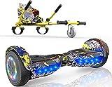MICROGO Hoverboard Kinder mit Sitz Elektroroller mit Bluetooth-Lautsprechern LED-Leuchten, Geschenk für Kinder und Jugendliche