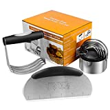 BYkooc Biscuit Cutter Set,Stainless Steel Pastry Cutters,5 Round Cookie Cutter with Handle, Heavy...