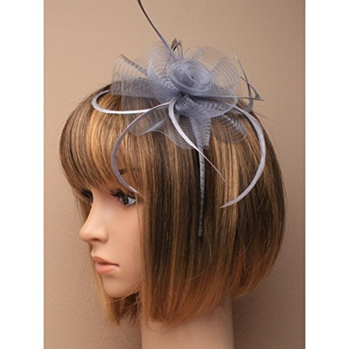 5875 Silver Grey Net Flower & Feather Fascinator on matching coloured satin covered narrow aliceband Wedding Races by Molly & Rose