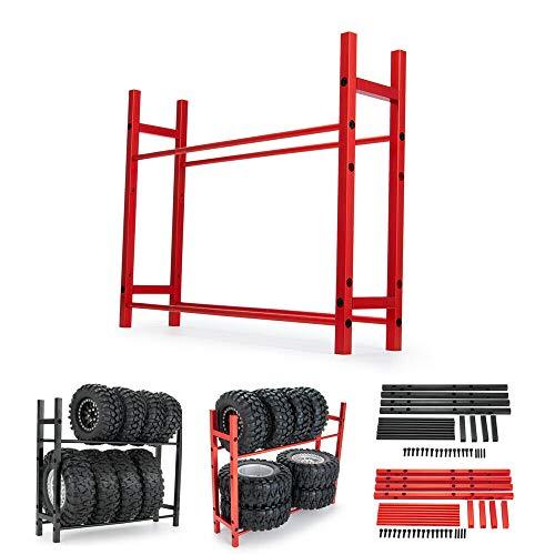RC Car Alloy Tire Rack/Wheel Rack for 1.9'' 2.2' Tire Wheel Rim SCX10 D90 CC01 TRX4 RC Crawler (Black)