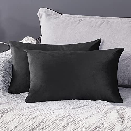 Deconovo Fundas para Cojines de Almohada del Sofá Cubierta Suave Decorativa Protector para Hogar 2 Piezas 30 x 50 cm Gris Oscuro