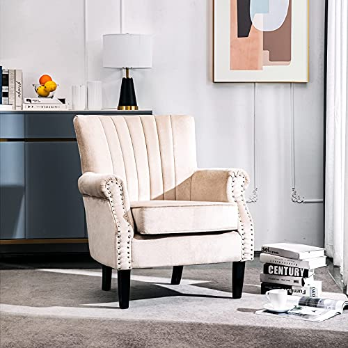 Warmiehomy Velvet Upholstered Arm Chair Wing Back Occasional Chair with Solid Wood Legs Armchair for Living Room Bedroom Home Office (Beige, Velvet)