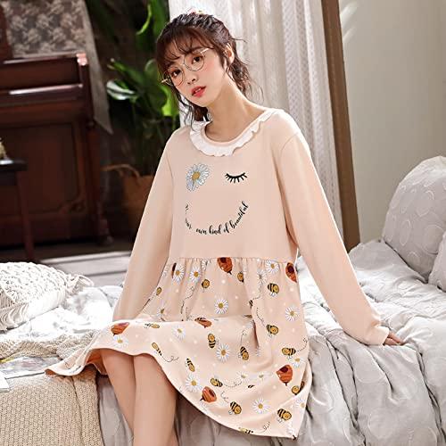 Comfort Nature Ropa de Dormir Camisones de Mujer Ropa de Dormir para Mujer Elegante Verano Suelto 3XL Estampado Dulce señora Volantes Manga Larga XL 8510