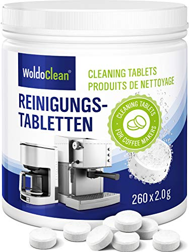 Pastillas para la limpieza de cafeteras automáticas - 260x tabletas limpiadoras compatible con marcas, Delonghi, Dolce Gusto, Nespresso, Seaco, Krups, Senseo, Bosch