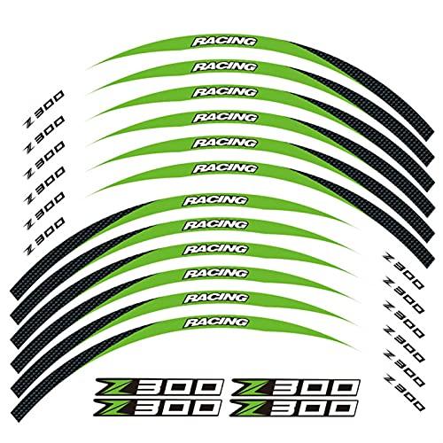 12 PCS Ajuste la Etiqueta de la Rueda de la Rueda de la Rueda de la Rueda de la Raya del Borde Reflectante para Todos para Kawasaki Z300 (Color : 17)