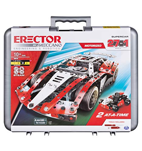 Meccano Erector, 27-in-1 Supercar STEM Building Kit with LED Lights and Motor, for Ages 10 and Up
