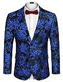 COOFANDY Men's Floral Tuxedo Jacket Rose Embroidered Suit Jacket Wedding Prom Dinner Party Blazer
