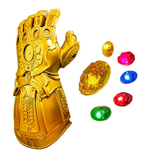 Revenge 4 Infinity Gauntlet glove, Iron Man Glove LED Light up with Removable Magnet Infinity Stones-3 Flash mode. (Adult size)