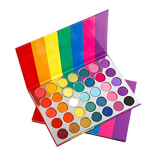 WXHXSRJ Paleta de Sombras de Ojos, Coloridas paletas de Sombras de Ojos pigmentadas con Brillo prensado y Mate de arcoíris, para Mujeres