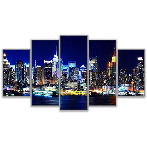 JIUZI-Modern Decorative Artwork Printed On Canvas-New York City Skyline Hudson River At Night-Canvas Mural Art Wall-Painting Picture Home Decoration
