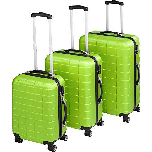 TecTake Set 3 piezas maletas ABS juego de maletas de viaje trolley maleta dura | 4 ruedas de 360º | 2 mangos y un asa telescópica - disponible en diferentes colores (Verde | no. 402673)