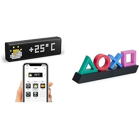 LaMetric Time WLAN Tischuhr Schwarz Alarmzeiten 1 & Playstation Z890845 PP4140PS Tasten Symbol Lampe mit Farbwechsel Funktion, Mehrfarbig