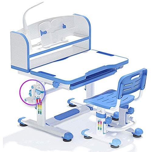 JW-LYYX Verstellbarer Kinderstudium, Schreibtisch und Stuhlsatz, einfache Heimschulschöpfe und -stühle für Grundschüler, mit LED-Licht/Leseplatine/Schublade,Blau