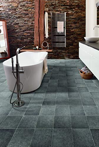 PVC Bodenbelag in graphit- grauen Fliesen (9,95€/m²), kleines Muster