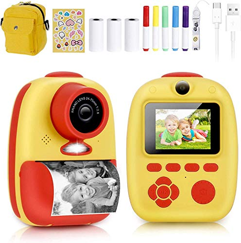 Instant Camera, Prymax Digital Print Camera with 1080P Rechargeable Kids Camera, Print Paper, Cartoon Stickers, Color Pencils, Portable Digital Camera with Camera Bag Toys Gifts for Boys Girls