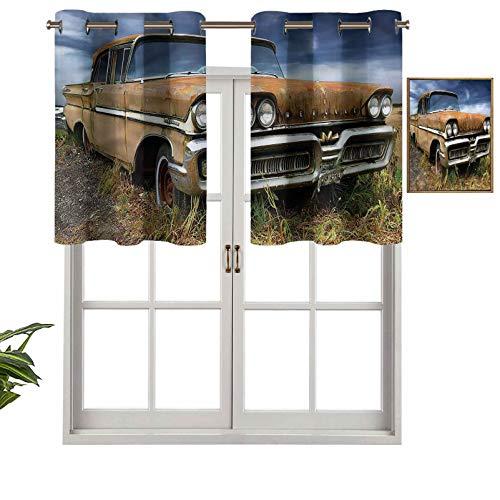 Hiiiman Cortinas opacas para ventana, paisaje rural, coche antiguo, oxidado, juego de 2, 42 x 24 pulgadas para interior, sala de estar, comedor, dormitorio