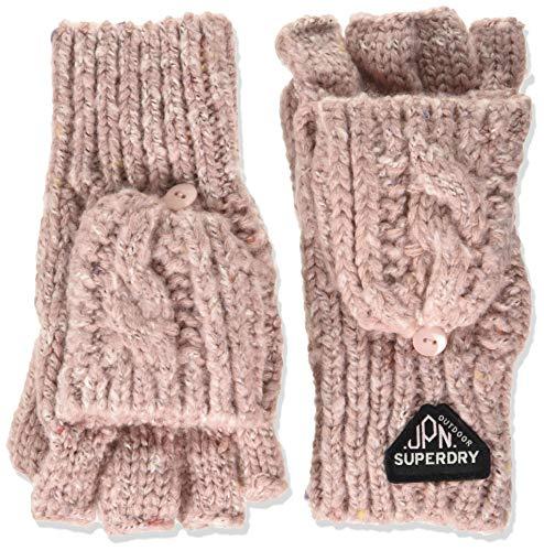 Superdry Damen GRACIE CABLE GLOVE Winter-Handschuhe, Candy Pink Tweed, Einheitsgröße