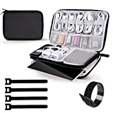 Electronic Organizer, Electronics Travel Case Cable Storage Bag Gadgets Accessories Case for Charging Cable, Cable Cord, Cellphone, Hard Drives, Including 5PCS Reusable Fastening Cable Ties