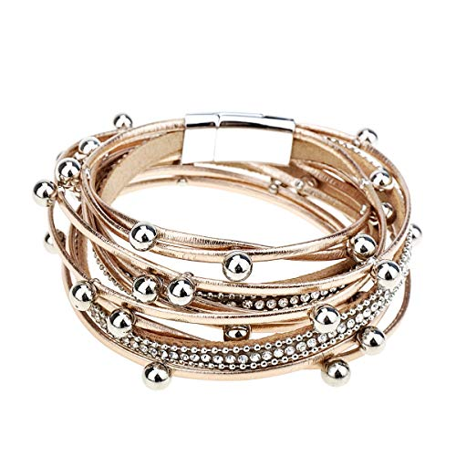 Gleamart Multi-Layer Leather Bracelet Beads Wrap Cuff Bangle for Women Girls Rose Gold