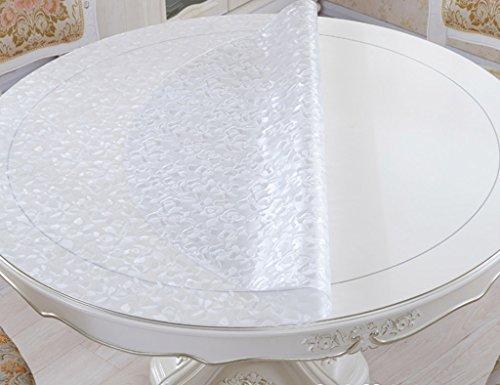 Nappe Circulaire en Verre Souple en Verre PVC Transparent Givré Rond Table Nappe Imperméable à l'eau Anti-chaude Nappe Imperméable à l'Huile ( Couleur : Thickness -1.5mm , taille : Diameter 90 cm )