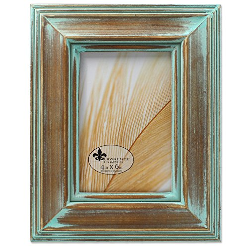 Lawrence Frames 4x6 Weathered Wood with Verdigris Wash Picture Frame