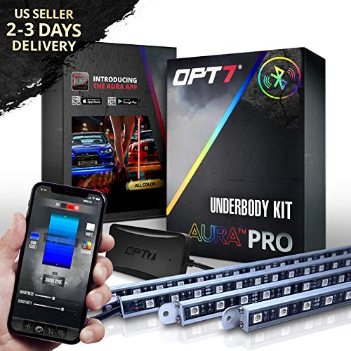 OPT7 Car Aura PRO LED Underglow Bluetooth Lighting Kit with SoundSync Music-4 Rigid Aluminum Waterproof Glow Bars-iOS & Android Enabled
