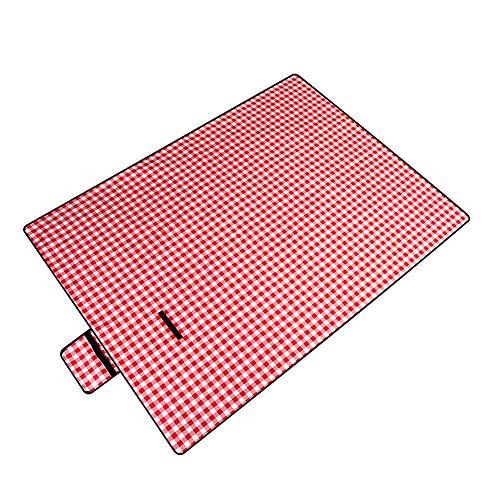 HS-01 Rood geruit vochtbestendig topper, all-in-one picknick deken kinderspeelmat, kleine picknick reistapijt (rood), 200 x 145 cm