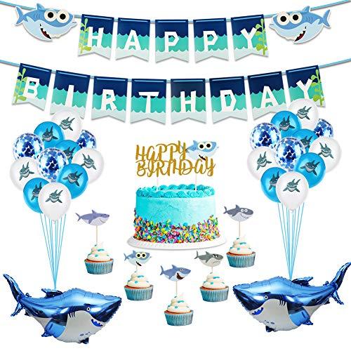 Parsion 48 Stück Blau Geburtstag Dekorationen Hai Happy Birthday Girlande mit Hochwertig Latexballon Konfetti, Groß Hai Folienballon, Cupcake Topper und Banner für Kinder Junge Geburtstagsdeko