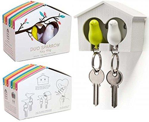 Schlüsselanhänger in Vogelhaus-Form mit Spatzen-Duo