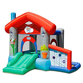 ACTION AIR Bounce House Air Bouncer with 30 Ball Inflatable Bouncer with Air Blower Jumping Castle with Slide for Outdoor and Indoor Durable Sewn with Extra Thick Material Idea for Kids